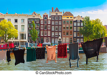 Amsterdam canal, Netherlands, Netherlands - Clothes drying...