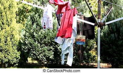 clothes drying on the line - video of clothes drying on the...