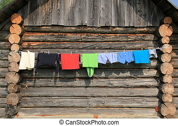 Clothes drying on the rope