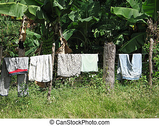clothes drying outside