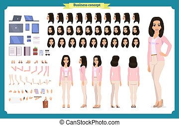 clothes., femme, désinvolte, caractère, création, entiers, set., longueur, jeune