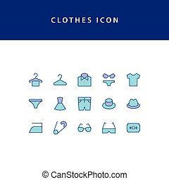 Clothes filled outline icon set