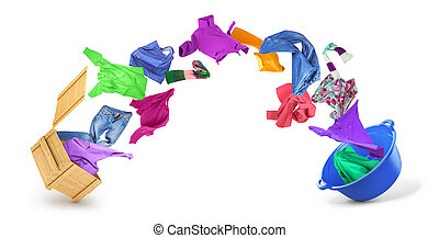 Clothes flying from a box in a bowl on a white background.