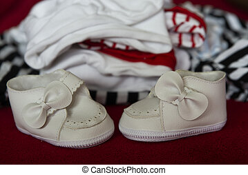 clothes for a small child, close-up on shoes