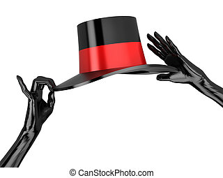 Women's hat and black gloves to cabaret. Isolated on white.