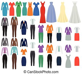 Clothes for women in flat design. Vector illustration.
