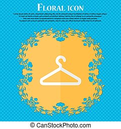 clothes hanger. Floral flat design on a blue abstract background with place for your text. Vector