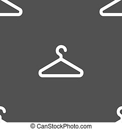 clothes hanger icon sign. Seamless pattern on a gray background. Vector