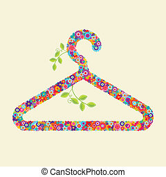 Clothes hanger made of flowers and branches. You could use...