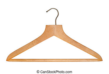 Old-fashioned wooden clothes hanger isolated on white background.