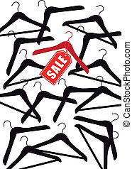 clothes hanger with red sale tag, vector background