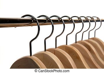 Clothes Hangers on a Isolated Background - Wooden Clothes ...