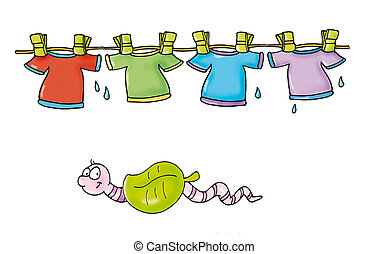 clothes hanging, earthworm under the leaf