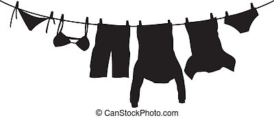 clothes hanging on a clothesline (hanging on thread, clothes drying, t-shirt, boxer short, men's sweatshirt with pocket, pants, panties, bra, laundry hanging to dry)