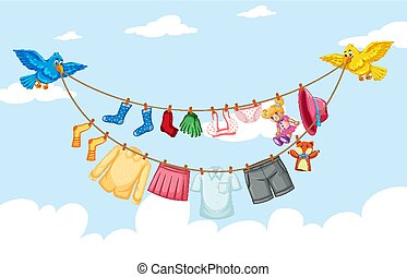 Clothes hanging on line with sky background
