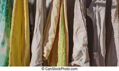 Detail of Clothes hanging out to dry