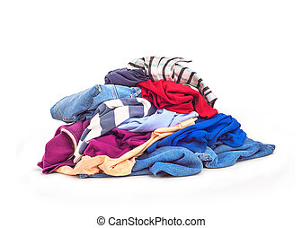 Clothes heap. On a white background there is a large pile of...