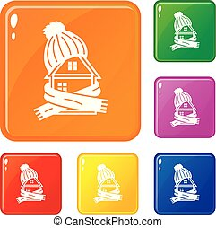 Clothes house icons set vector color
