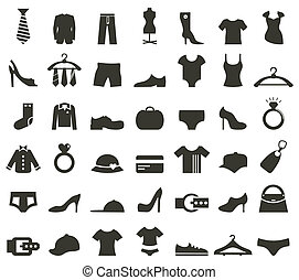 Clothes icon - Set of icons on a theme clothes. A vector ...