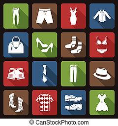 Clothes icons set flat