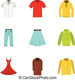 Clothes icons set, flat style