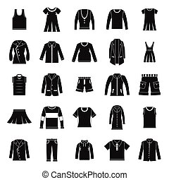 Clothes icons set in silhouette style