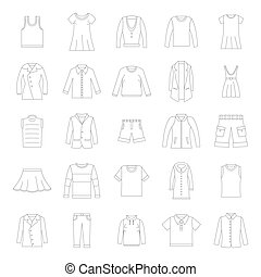 Clothes icons set in thin line style. Vector set clothing on white background including dresess, skirts, shorts, pants, tops and t-shirt