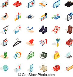 Clothes icons set, isometric style