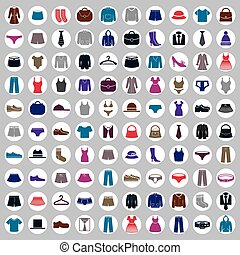 Clothes icons vector collection, vector icon set of fashion ...