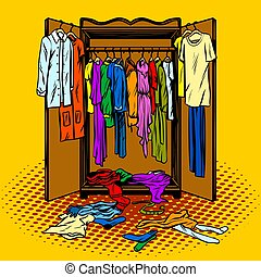 Clothes in a wardrobe comic book style vector - Clothes in a...