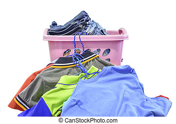 Clothes in plastic basket on white background