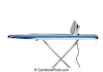A clothes iron and ironing board on a white background with copy space