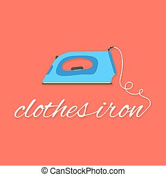 clothes iron lettering on red background. concept of...