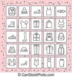 Clothes Items Set Of Icons Thin Line On Abstract Pink Background