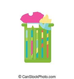 clothes laundry basket on white background