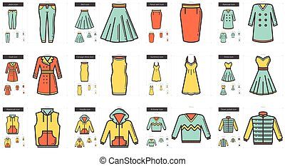 Clothes line icon set. - Vector set of clothes line icons...