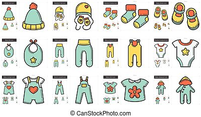 Clothes line icon set. - Vector set of clothes line icons ...