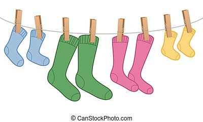 Clothes Line Wool Socks Family Colors