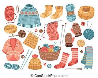 clothes., mignon, chapeau, vecteur, écharpe, tissu, hiver, passe-temps, cardigan, laine, chaud, veste, sweater., tricoté, isolé, illustration, crochet, tricotter, tricot