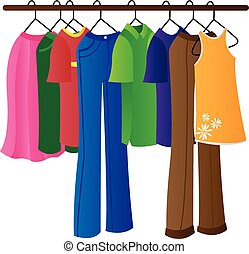 clothes on a hanger rod