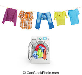 clothes on a rope with a washing machine isolated on white