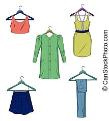 Clothes on hangers. Women clothes in flat style vector...