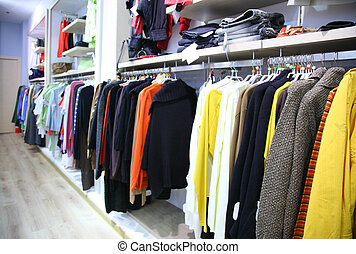 Clothes on rack in shop