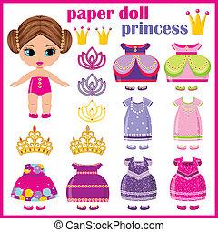 clothes., papel, jogo, princesa, boneca