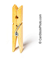 One clothes peg isolated on white background