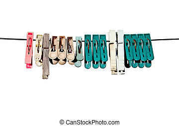 clothes-peg for linen with rope on white background