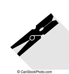 Clothes peg sign. Black icon with flat style shadow path.