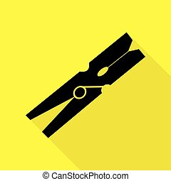 Clothes peg sign. Black icon with flat style shadow path on yellow background.