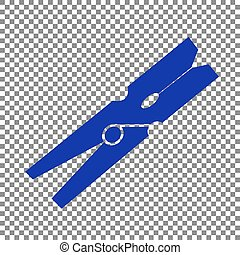 Clothes peg sign. Blue icon on transparent background.