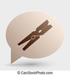 Clothes peg sign. Brown gradient icon on bubble with shadow.